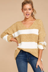 4 Fall With Me Tan Stripe Sweater at reddressboutique.com