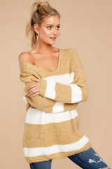 7 Fall With Me Tan Stripe Sweater at reddressboutique.com