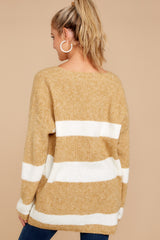8 Fall With Me Tan Stripe Sweater at reddressboutique.com