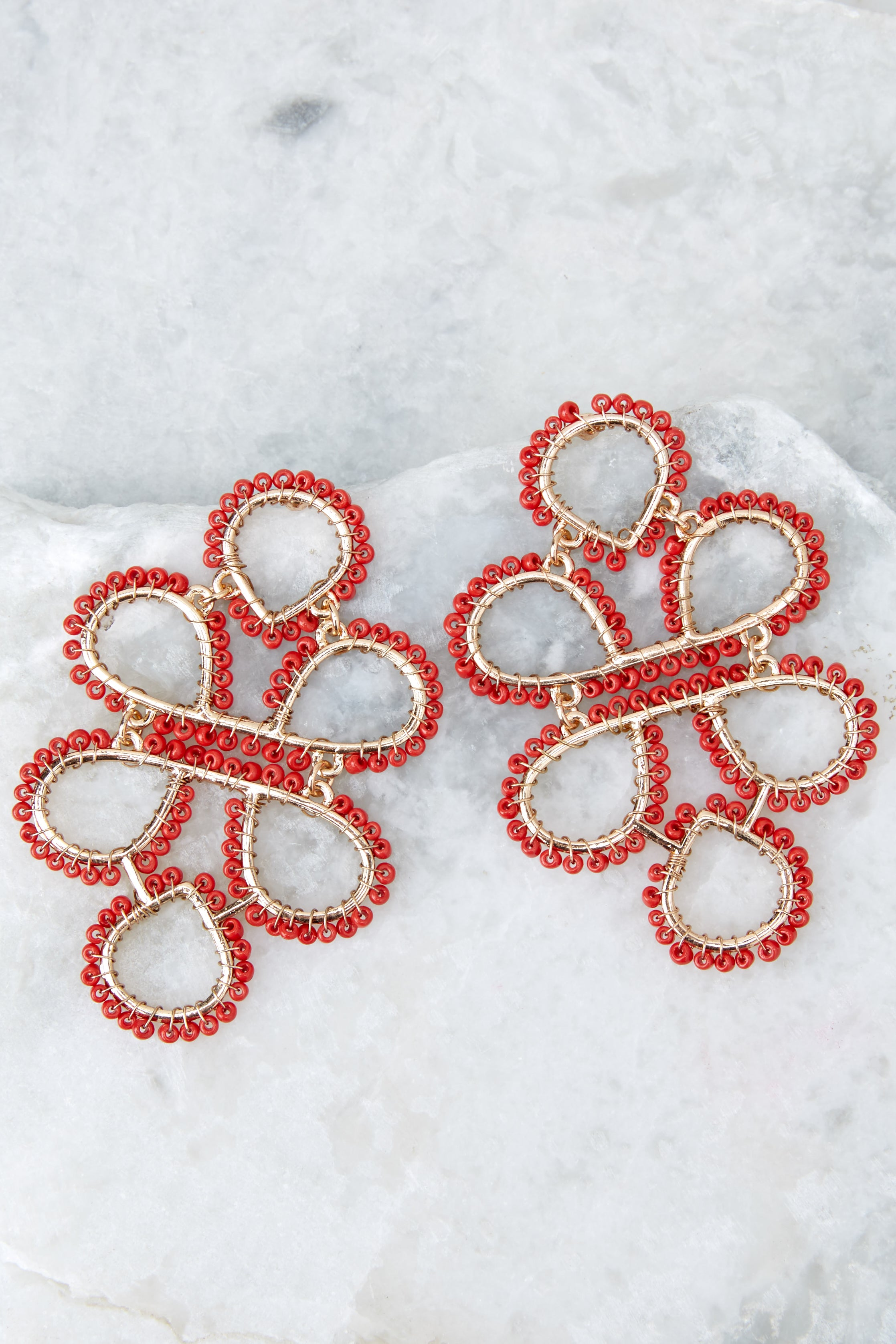 1 On Another Level Red Statement Earrings at reddressboutique.com