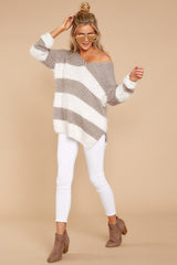 2 Moving On Without You Grey Stripe Eyelash Sweater at reddressboutique.com