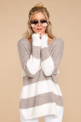 3 Moving On Without You Grey Stripe Eyelash Sweater at reddressboutique.com