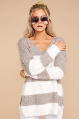 4 Moving On Without You Grey Stripe Eyelash Sweater at reddressboutique.com