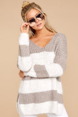 5 Moving On Without You Grey Stripe Eyelash Sweater at reddressboutique.com