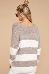 6 Moving On Without You Grey Stripe Eyelash Sweater at reddressboutique.com