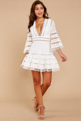 3 Happiness Is Key White Dress at reddressboutique.com