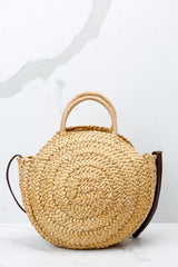 All Around It Tan Round Bag