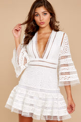 5 Happiness Is Key White Dress at reddressboutique.com
