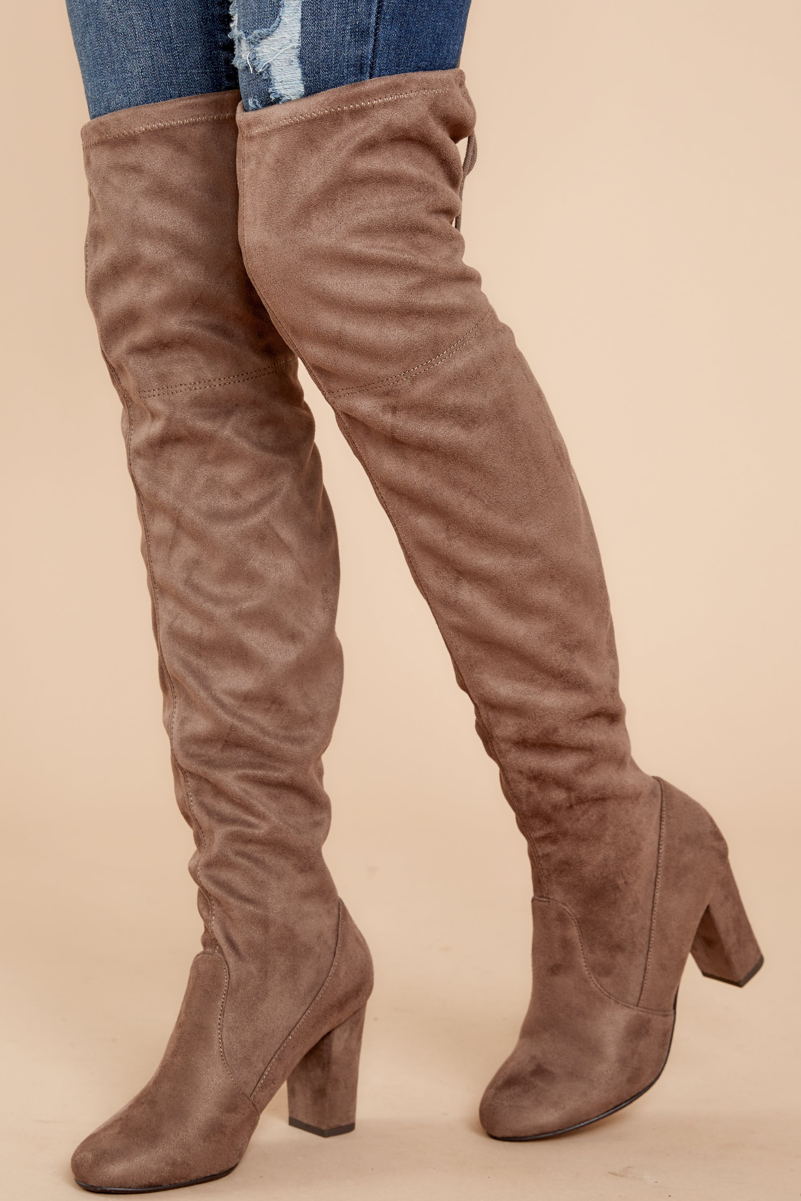 b130aec8a24 Great Strides Taupe Knee High Boots