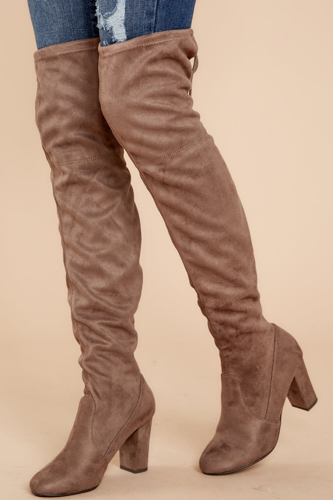 1 Kasidy Taupe Boots at reddressboutique.com