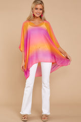 1 Sure Thing Fuchsia Multi Poncho at reddressboutique.com