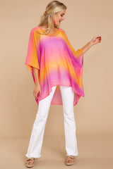 2 Sure Thing Fuchsia Multi Poncho at reddressboutique.com