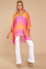 3 Sure Thing Fuchsia Multi Poncho at reddressboutique.com