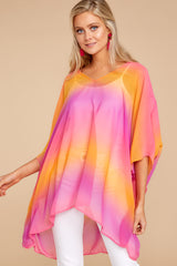 5 Sure Thing Fuchsia Multi Poncho at reddressboutique.com