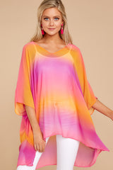 6 Sure Thing Fuchsia Multi Poncho at reddressboutique.com