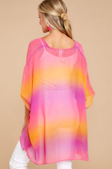 8 Sure Thing Fuchsia Multi Poncho at reddressboutique.com