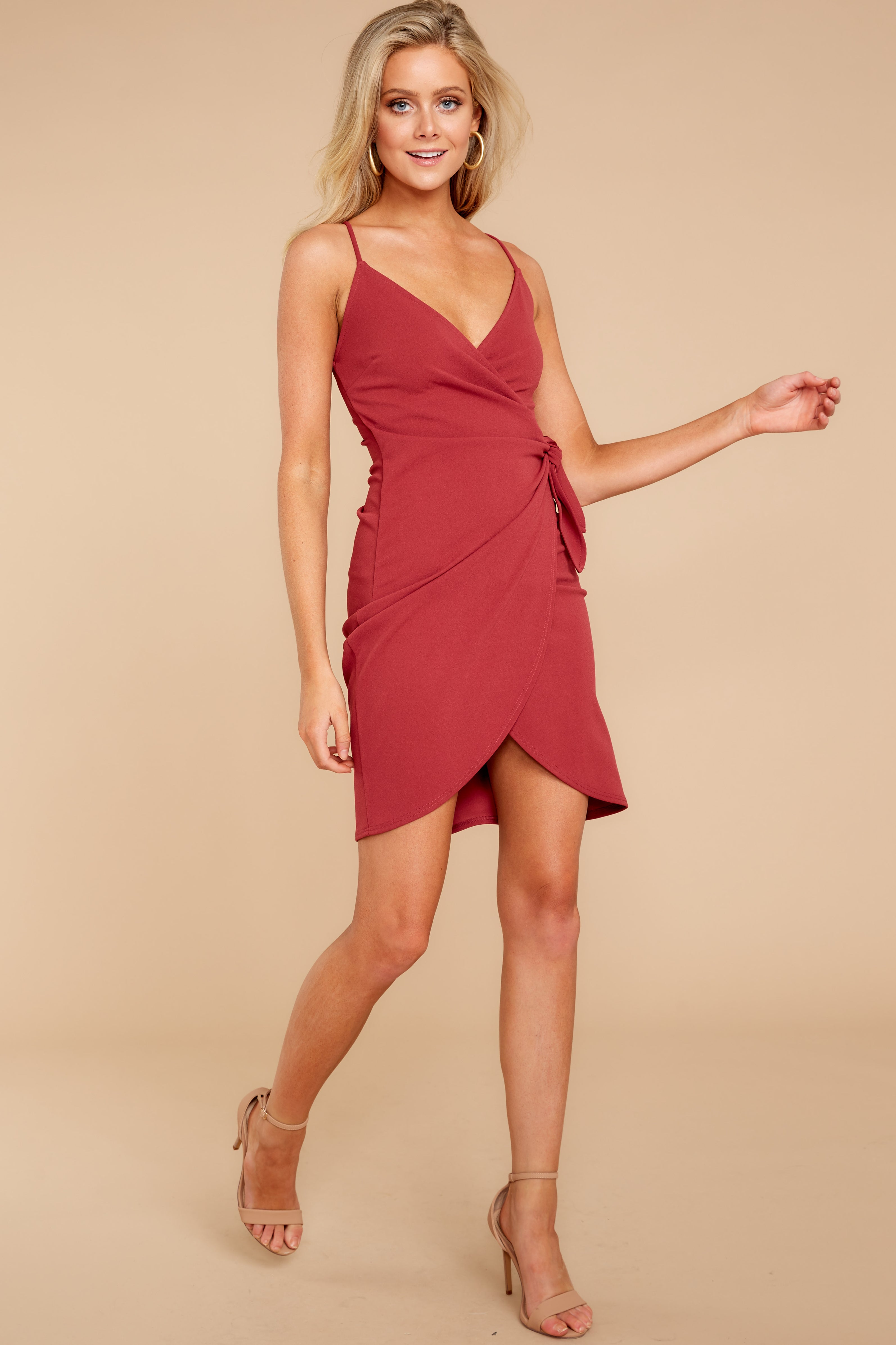 3 Saw It First Marsala Red Dress at reddressboutique.com