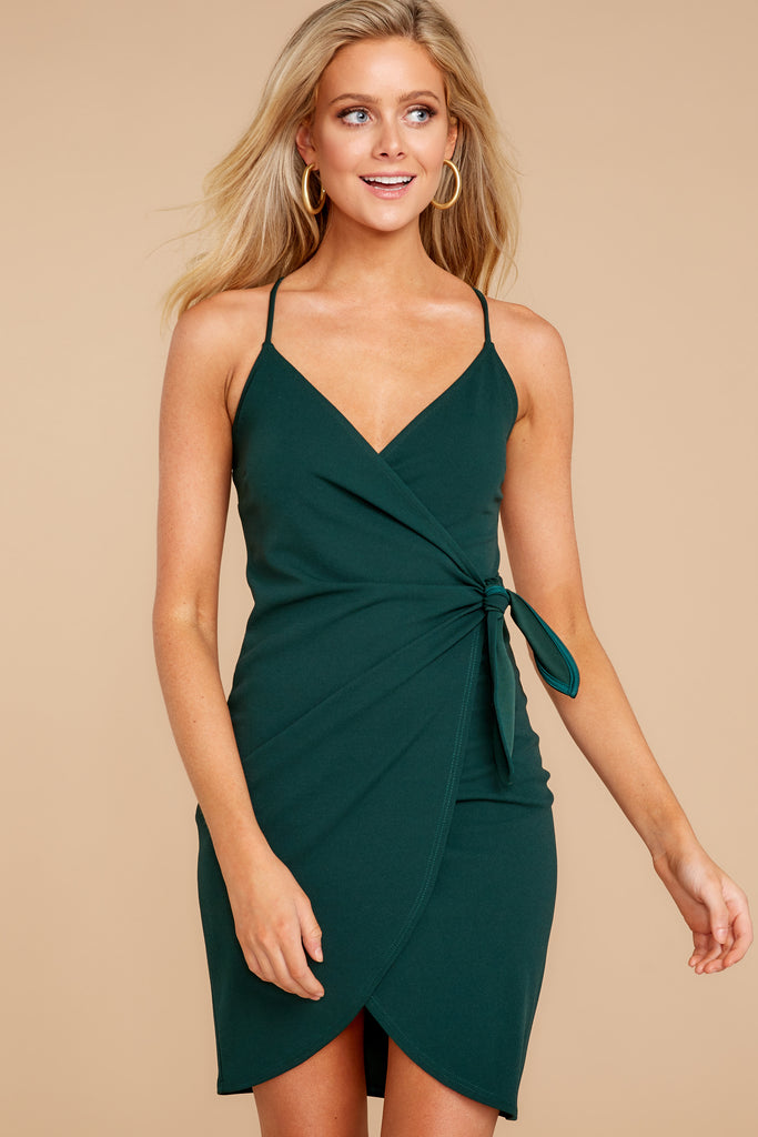 1 Scheduled Perfection Evergreen Wrap Dress at reddressboutique.com