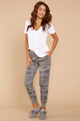 6 Loft Fleece Camo Jogger Pants In Camo Dark Grey at reddressboutique.com