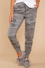 1 Loft Fleece Camo Jogger Pants In Camo Dark Grey at reddressboutique.com