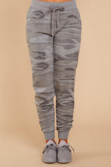 3 Loft Fleece Camo Jogger Pants In Camo Dark Grey at reddressboutique.com