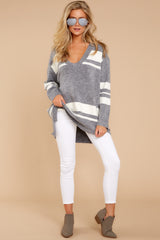 2 Anticipating Fall Grey Striped Sweater at reddress.com