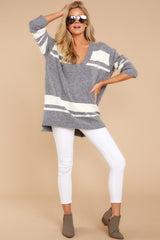 3 Anticipating Fall Grey Striped Sweater at reddress.com