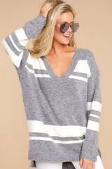 5 Anticipating Fall Grey Striped Sweater at reddress.com
