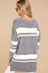 7 Anticipating Fall Grey Striped Sweater at reddress.com