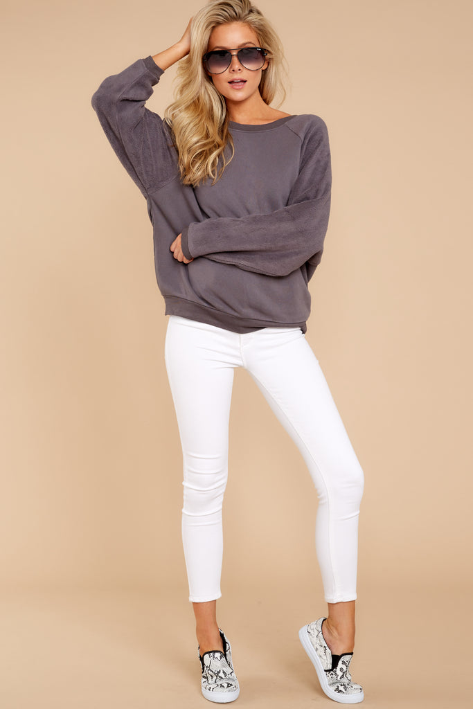 Cozy Content Grey Turtleneck Chenille Sweater