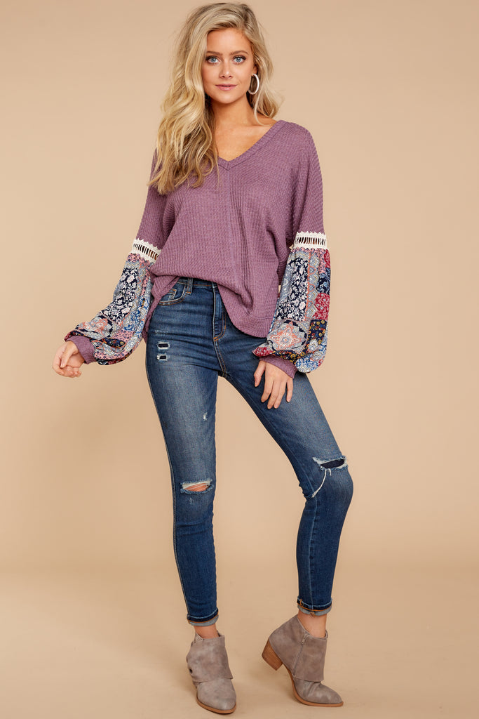 4 Falling For This Navy Print Top at reddressboutique.com