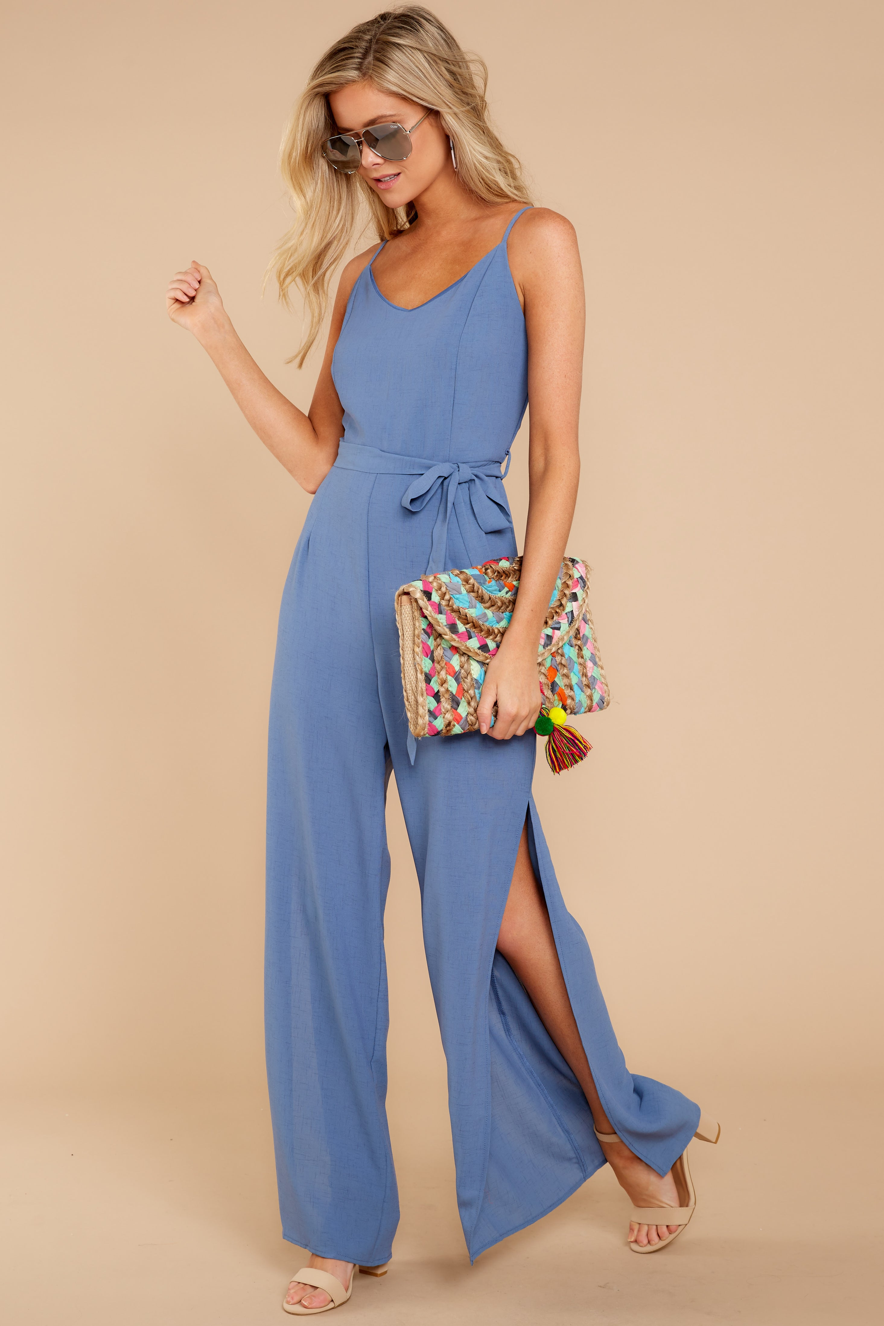 2 The Perfect Way Dusty Blue Jumpsuit at reddress.com