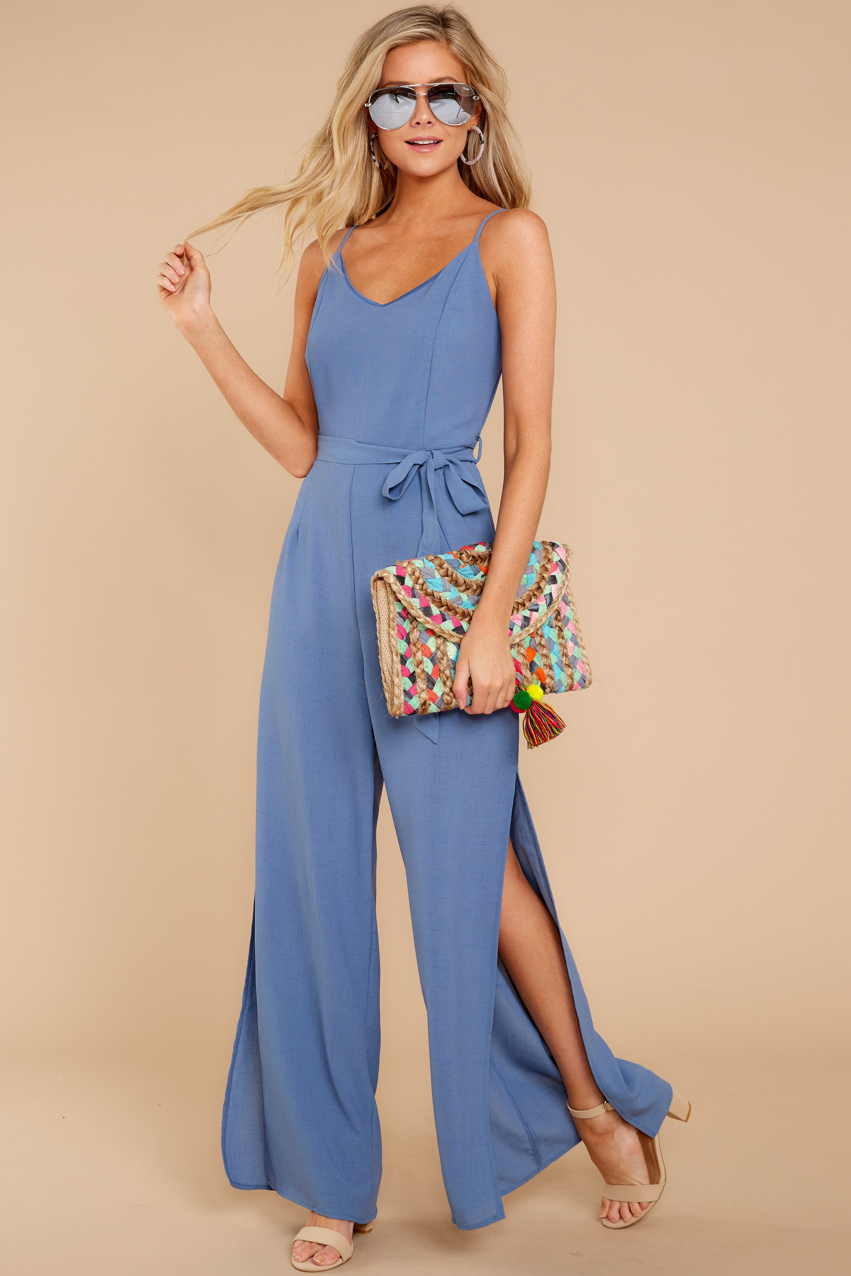 1 The Perfect Way Dusty Blue Jumpsuit at reddress.com