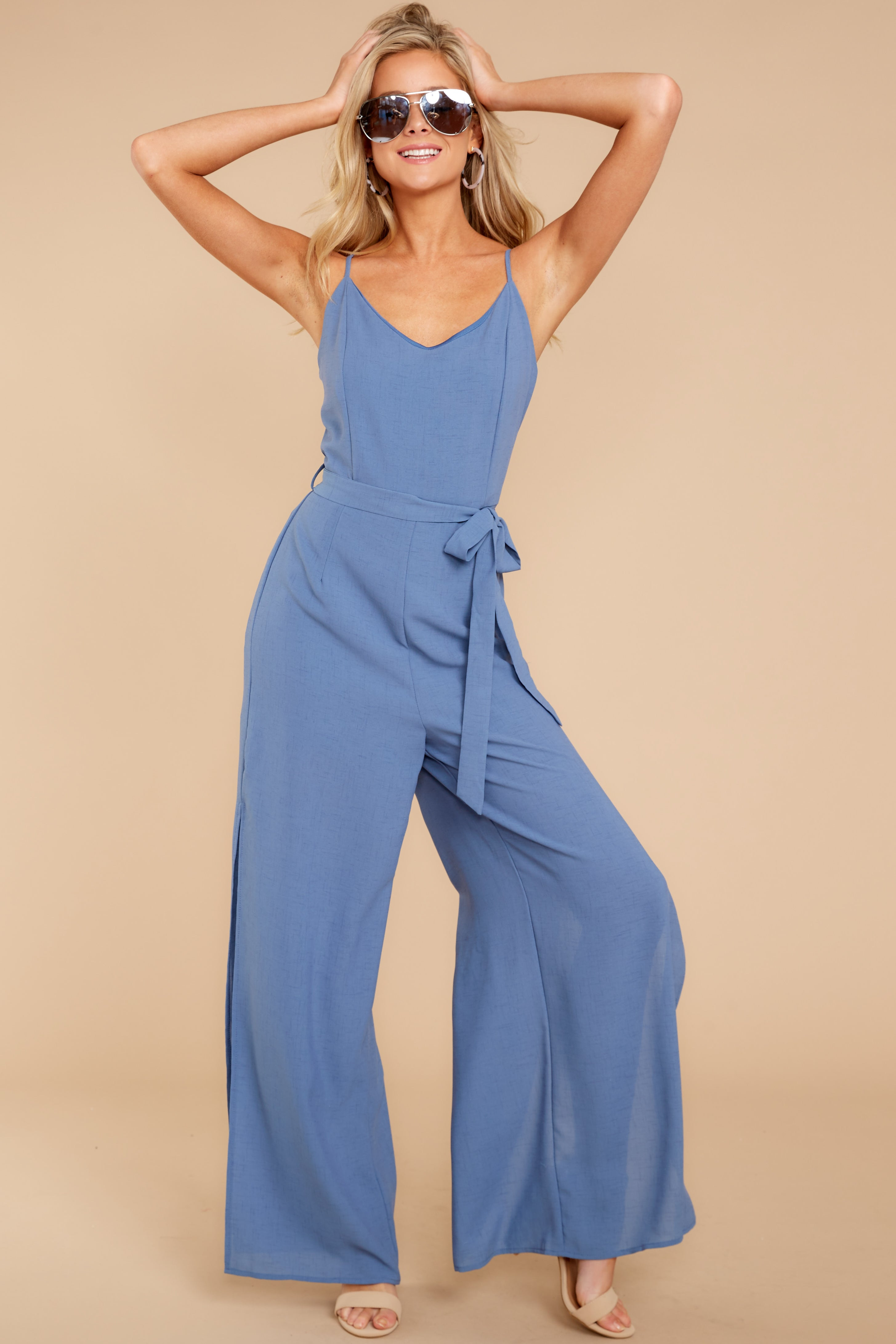 4 The Perfect Way Dusty Blue Jumpsuit at reddress.com