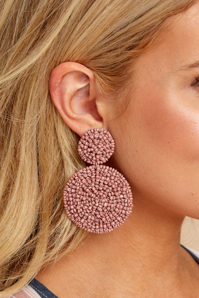 Looking Out Tan Beaded Earrings