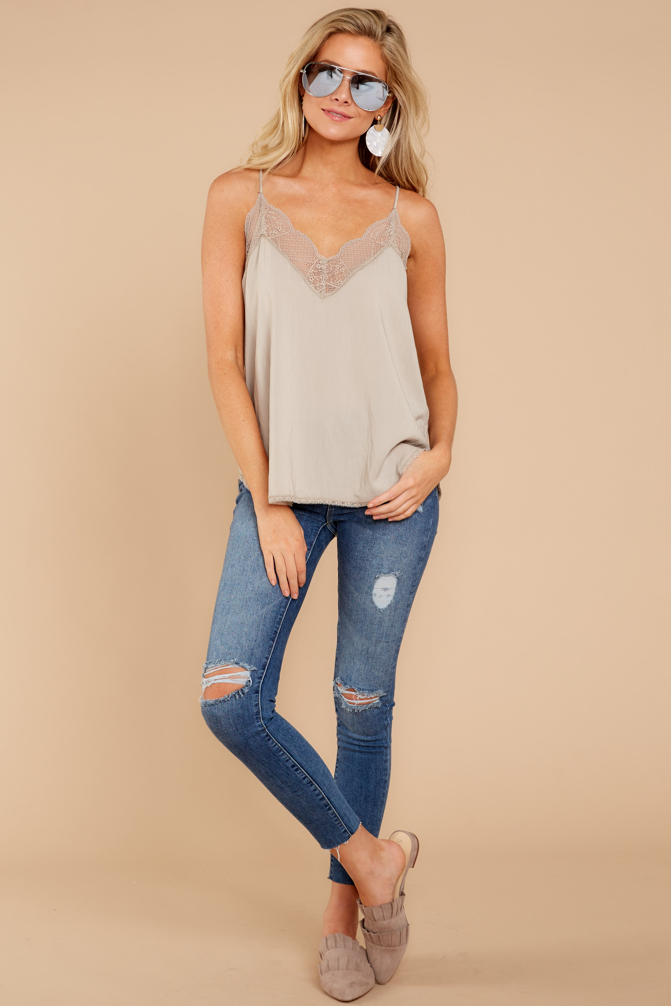 2 Slip Into This Taupe Lace Tank Top at reddressboutique.com