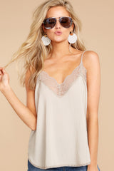 5 Slip Into This Taupe Lace Tank Top at reddressboutique.com