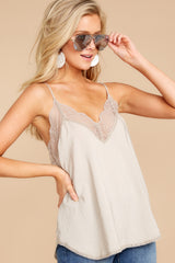 6 Slip Into This Taupe Lace Tank Top at reddressboutique.com
