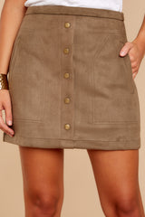 5 Cool Conduct Olive Suede Skirt at reddressboutique.com