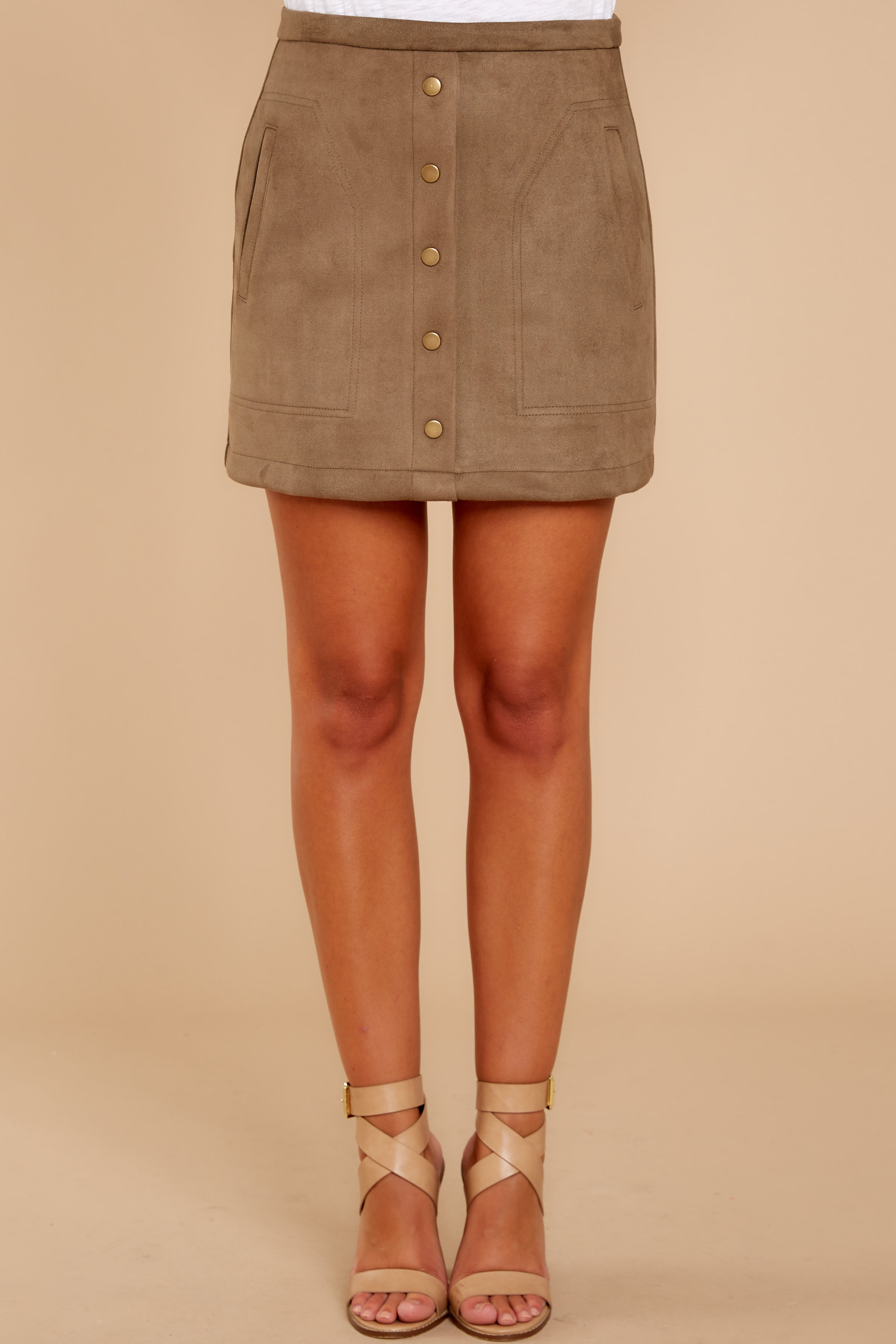 6 Cool Conduct Olive Suede Skirt at reddressboutique.com