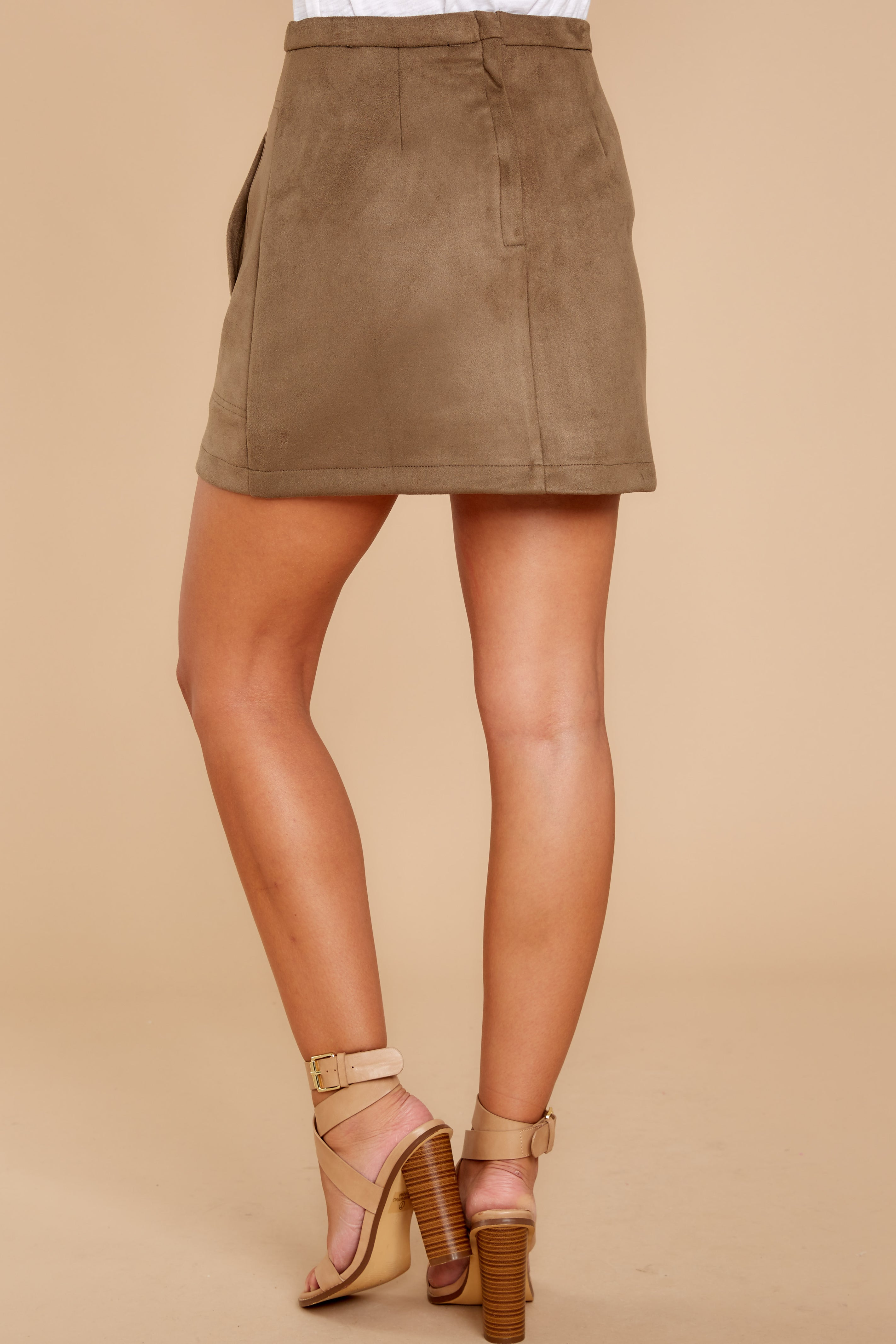 8 Cool Conduct Olive Suede Skirt at reddressboutique.com
