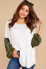 4 Set Yourself Free White And Olive Paisley Print Top at reddressboutique.com