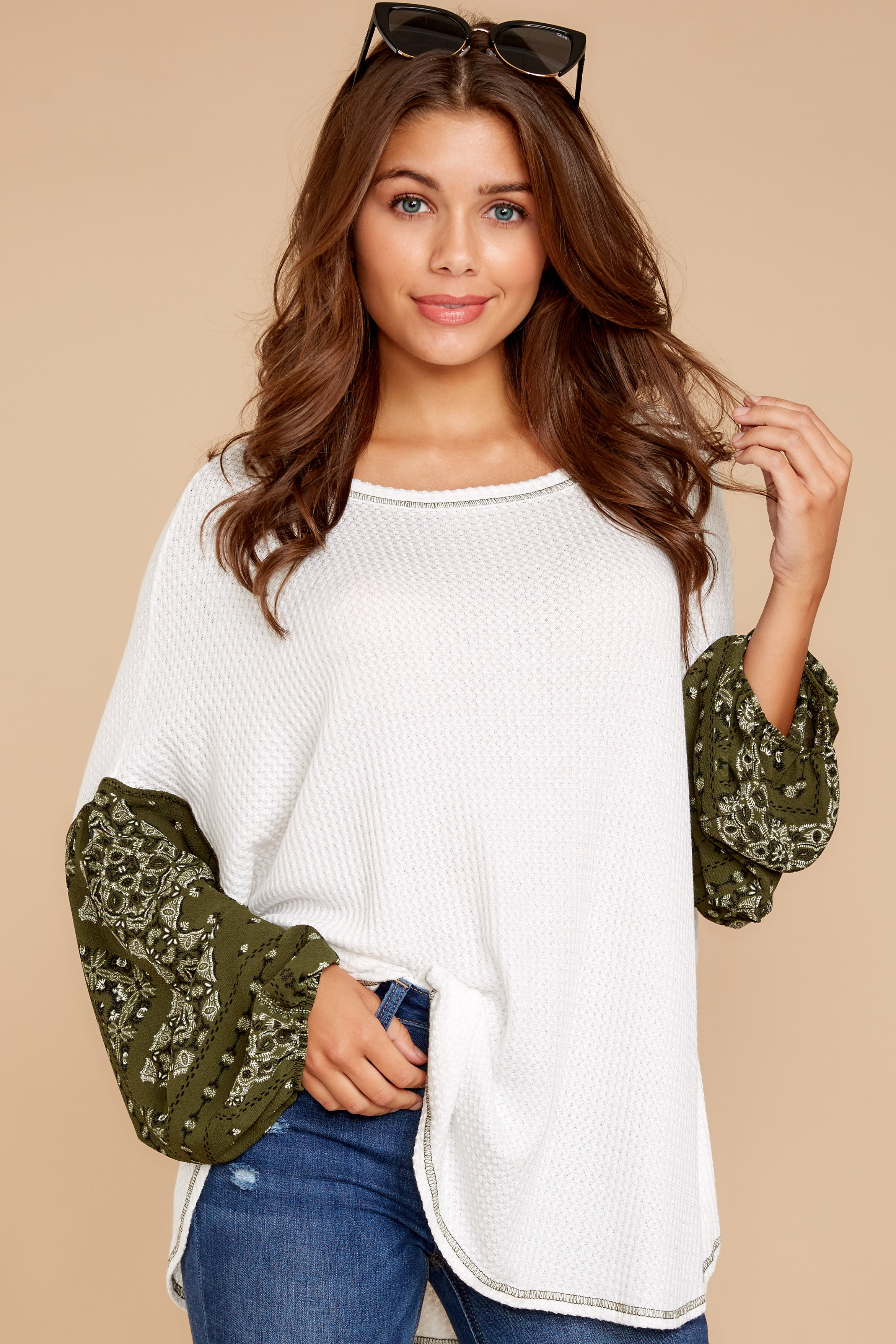 5 Set Yourself Free White And Olive Paisley Print Top at reddressboutique.com