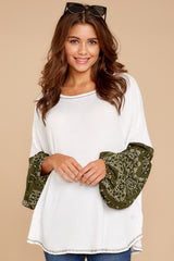 6 Set Yourself Free White And Olive Paisley Print Top at reddressboutique.com