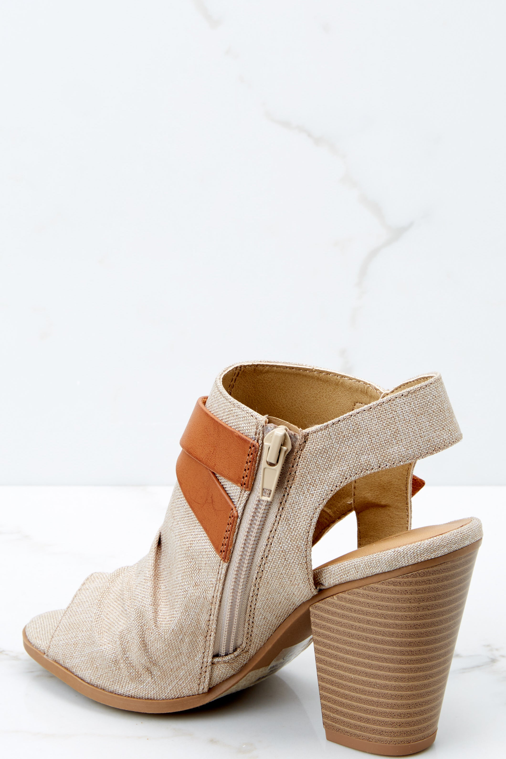 Undeniable You Taupe Peep Toe Ankle Boots