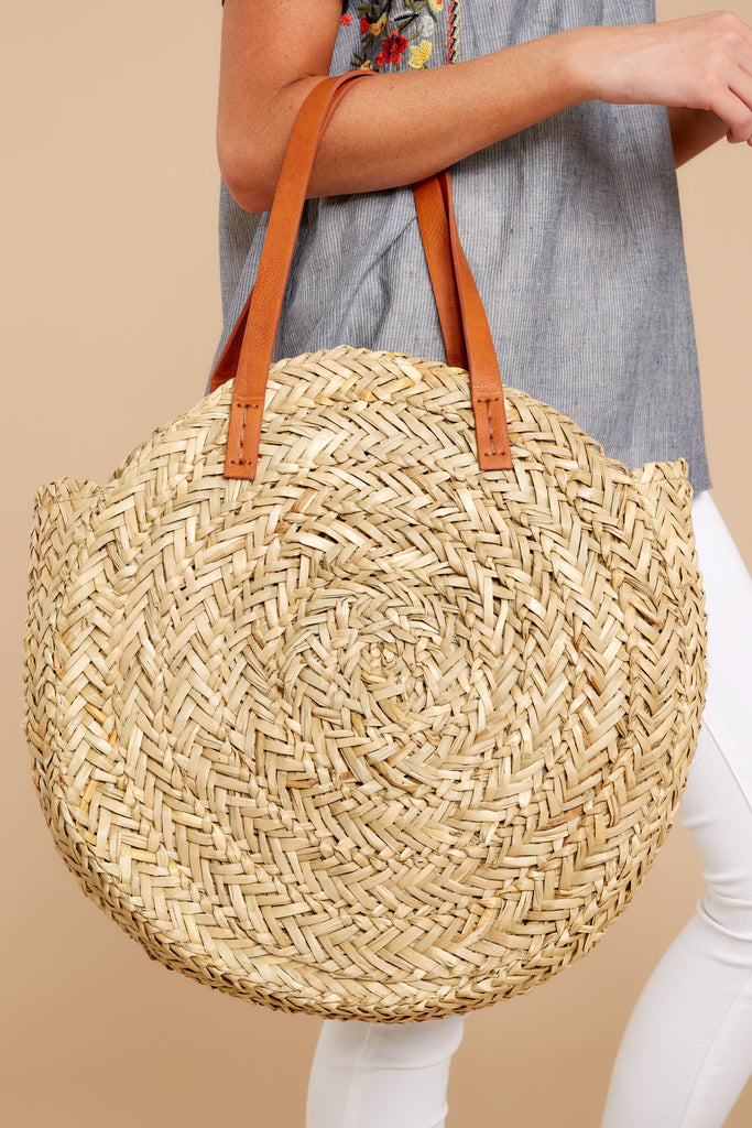 1 Sand in Your Soul Beige Round Bag at reddressboutique.com