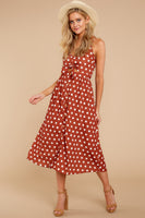 V-neck Polka Dots Print Polyester Empire Waistline Cutout Shirred Midi Dress