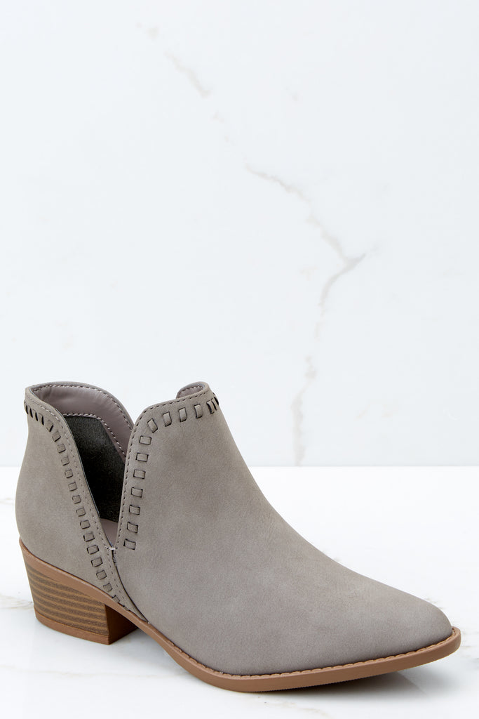 1 Studded Statement Grey Ankle Booties at reddressboutique.com