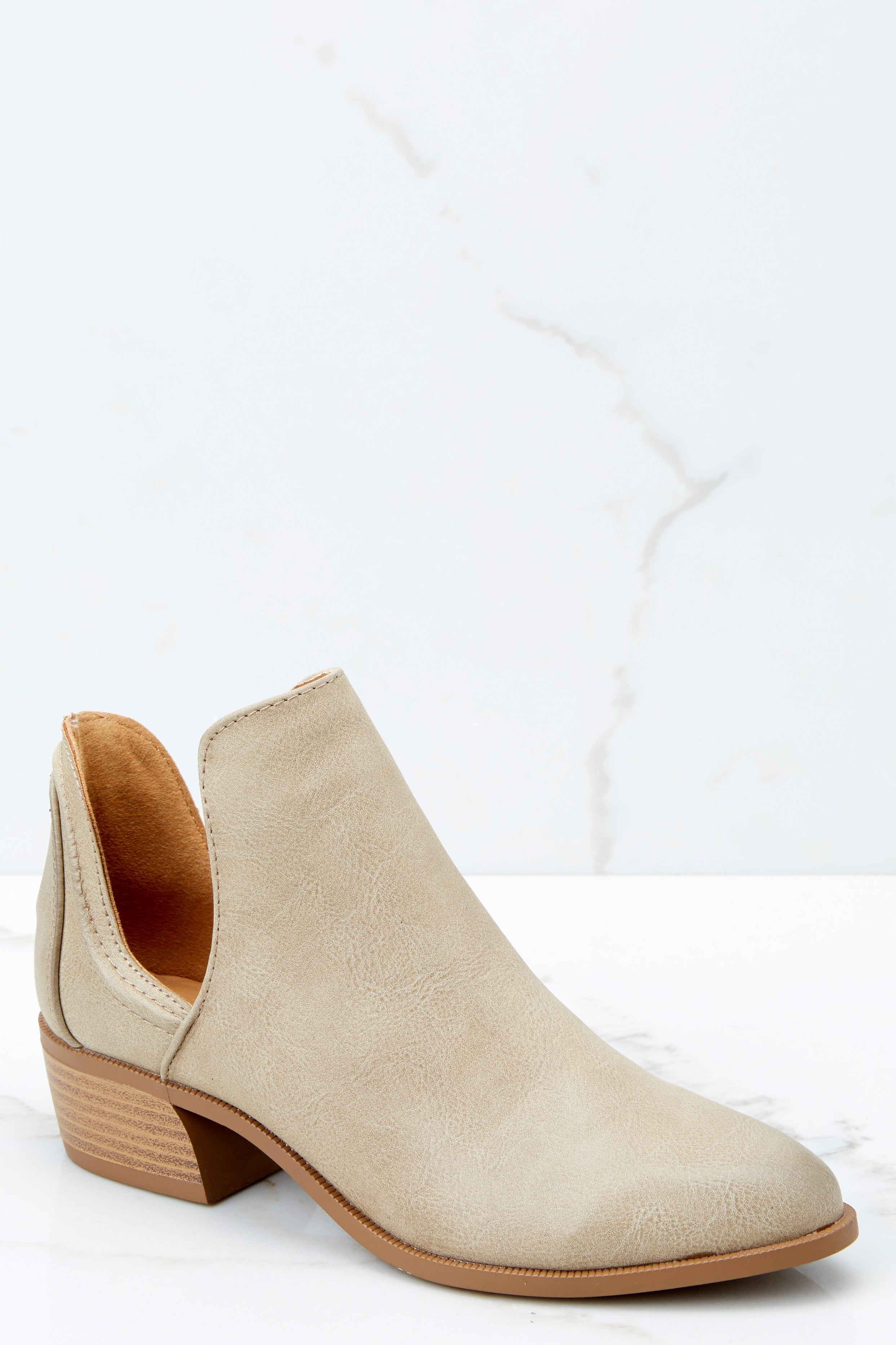 1 Came And Conquered Taupe Ankle Booties at reddressboutique.com