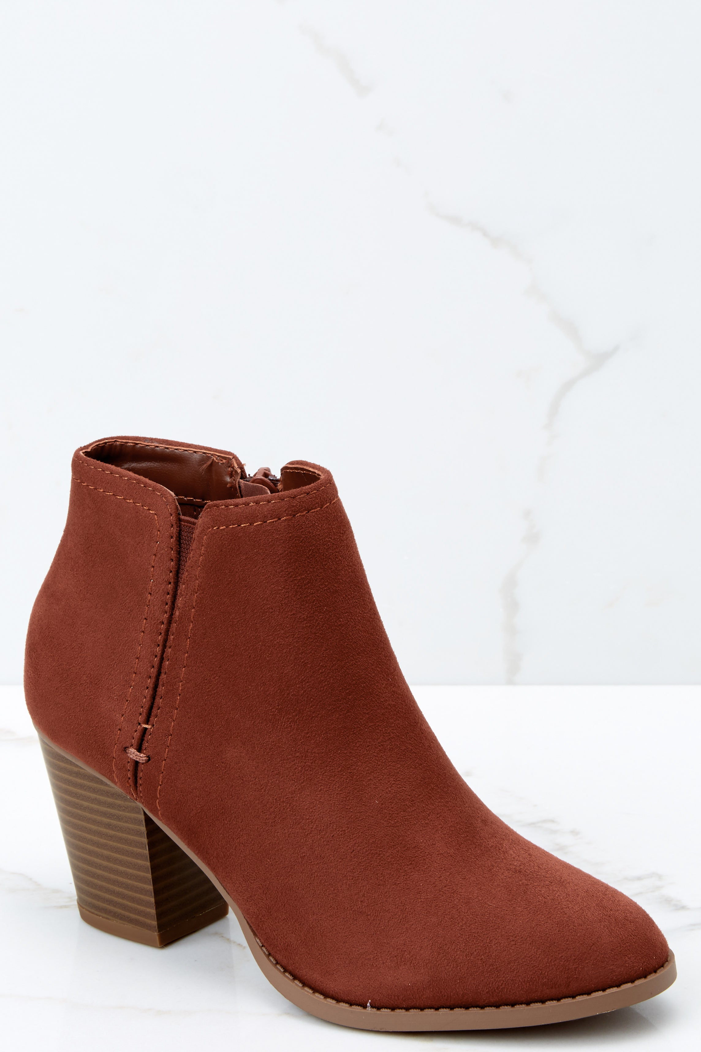 2 Time Won't Stop Rust Ankle Booties at reddressboutique.com